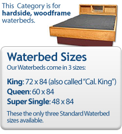 Category for wood frame waterbed mattresses only.