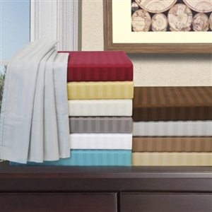 300 TC California King Sateen Cotton Stripe Un-Attached Sheets