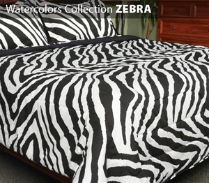 Watercolors Collection 3 Piece Comforter Set ZEBRA